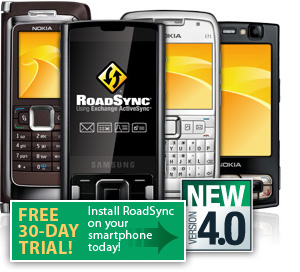RoadSync uses the Exchange ActiveSync protocol to provided secure, wireless and direct push synchronization of your exchange email, calendar, contacts and tasks to your mobile phone or device.
