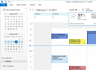 Share Internet calendars, send text messages, share electronic business cards